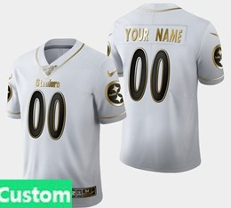Mens Nfl Pittsburgh Steelers Custom Made White Golden 100th Vapor Untouchable Limited Jersey