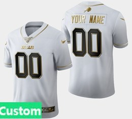 Mens Nfl Buffalo Bills Custom Made White Golden 100th Vapor Untouchable Limited Jersey
