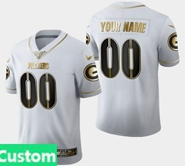 Mens Nfl Green Bay Packers Custom Made White Golden 100th Vapor Untouchable Limited Jersey