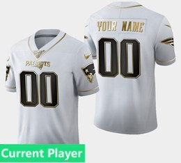 Mens Nfl New England Patriots Current Player White Golden 100th Vapor Untouchable Limited Jersey