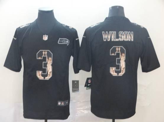 Mens Nfl Seattle Seahawks #3 Russell Wilson Black Statue Of Liberty Vapor Untouchable Limited Jerseys