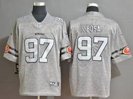 Mens Nfl San Francisco 49ers #97 Nick Bosa Heather Grey Retro Vapor Untouchable Limited Jersey