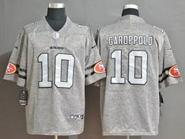 Mens Nfl San Francisco 49ers #10 Jimmy Garoppolo Heather Grey Retro Vapor Untouchable Limited Jersey