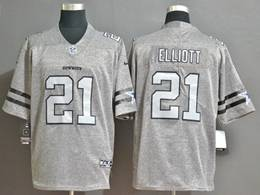 Mens Nfl Dallas Cowboys #21 Ezekiel Elliott Heather Grey Retro Vapor Untouchable Limited Jersey