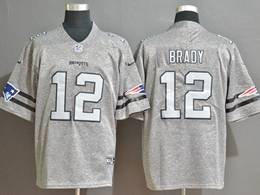 Mens New England Patriots #12 Tom Brady Heather Grey Retro Vapor Untouchable Limited Jersey