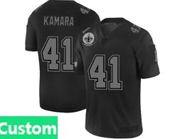 Mens Nfl New Orleans Saints Custom Made Black Olive 2019 Salute To Service Game Jersey