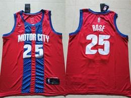 Mens 2019-20 Nba Detroit Pistons #25 Derrick Rose Red Motor City Edition Swingman Jersey