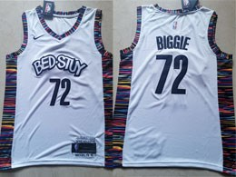 Mens 2019-20 Nba Brooklyn Nets #72 Biggie Bed-stuy White City Edition Nike Jersey