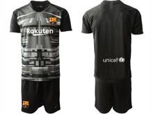 Mens 19-20 Soccer Barcelona Club ( Custom Made ) Black Printing Goalkeeper Short Sleeve Suit Jersey