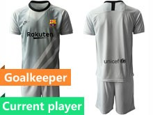 Mens 19-20 Soccer Barcelona Club Current Player Gray Goalkeeper Short Sleeve Suit Jersey