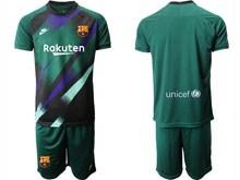 Mens 19-20 Soccer Barcelona Club ( Custom Made ) Dark Green Goalkeeper Short Sleeve Suit Jersey