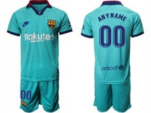 Mens 19-20 Soccer Barcelona Club ( Custom Made ) Blue Second Away Short Sleeve Suit Jersey