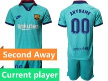 Mens 19-20 Soccer Barcelona Club Current Player Blue Second Away Short Sleeve Suit Jersey