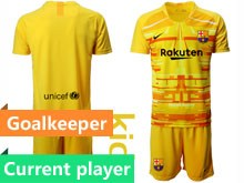 Youth 19-20 Soccer Barcelona Club Current Player Yellow Red Goalkeeper Short Sleeve Suit Jersey