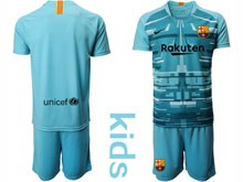 Youth 19-20 Soccer Barcelona Club ( Custom Made ) Blue Goalkeeper Short Sleeve Suit Jersey