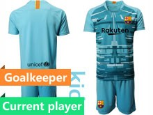 Youth 19-20 Soccer Barcelona Club Current Player Blue Goalkeeper Short Sleeve Suit Jersey