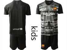 Youth 19-20 Soccer Barcelona Club ( Custom Made ) Black Printing Goalkeeper Short Sleeve Suit Jersey