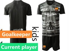 Youth 19-20 Soccer Barcelona Club Current Player Black Printing Goalkeeper Short Sleeve Suit Jersey