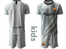 Youth 19-20 Soccer Barcelona Club ( Custom Made ) Gray Goalkeeper Short Sleeve Suit Jersey