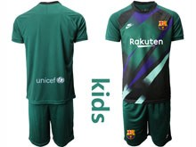 Youth 19-20 Soccer Barcelona Club ( Custom Made ) Dark Green Goalkeeper Short Sleeve Suit Jersey