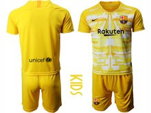 Youth 19-20 Soccer Barcelona Club ( Custom Made ) Yellow White Goalkeeper Short Sleeve Suit Jersey