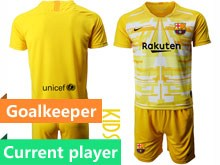 Youth 19-20 Soccer Barcelona Club Current Player Yellow White Goalkeeper Short Sleeve Suit Jersey