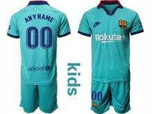 Youth 19-20 Soccer Barcelona Club ( Custom Made ) Blue Second Away Short Sleeve Suit Jersey