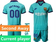 Youth 19-20 Soccer Barcelona Club Current Player Blue Second Away Short Sleeve Suit Jersey
