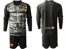 Mens 19-20 Soccer Barcelona Club ( Custom Made ) Black Printing Goalkeeper Long Sleeve Suit Jersey