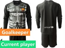 Mens 19-20 Soccer Barcelona Club Current Player Black Printing Goalkeeper Long Sleeve Suit Jersey