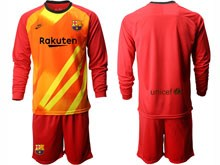 Mens 19-20 Soccer Barcelona Club ( Custom Made ) Red Goalkeeper Long Sleeve Suit Jersey