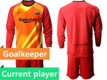 Mens 19-20 Soccer Barcelona Club Current Player Red Goalkeeper Long Sleeve Suit Jersey