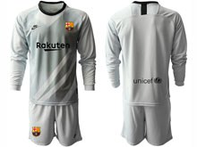 Mens 19-20 Soccer Barcelona Club ( Custom Made ) Gray Goalkeeper Long Sleeve Suit Jersey