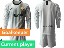 Mens 19-20 Soccer Barcelona Club Current Player Gray Goalkeeper Long Sleeve Suit Jersey