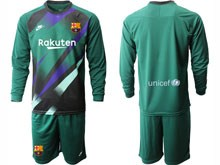 Mens 19-20 Soccer Barcelona Club ( Custom Made ) Dark Green Goalkeeper Long Sleeve Suit Jersey
