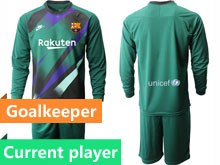Mens 19-20 Soccer Barcelona Club Current Player Dark Green Goalkeeper Long Sleeve Suit Jersey