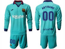 Mens 19-20 Soccer Barcelona Club ( Custom Made ) Blue Second Away Long Sleeve Suit Jersey