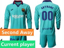 Mens 19-20 Soccer Barcelona Club Current Player Blue Second Away Long Sleeve Suit Jersey