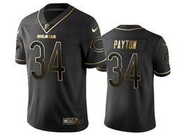 Mens Nfl Chicago Bears #34 Walter Payton Black Retro Golden Edition Vapor Untouchable Limited Jerseys