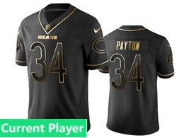 Mens Nfl Chicago Bears Current Player Black Retro Golden Edition Vapor Untouchable Limited Jerseys