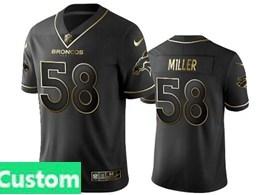 Mens Nfl Denver Broncos Custom Made Black Retro Golden Edition Vapor Untouchable Limited Jerseys