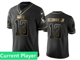 Mens Nfl Cleveland Browns Current Player Black Retro Golden Edition Vapor Untouchable Limited Jerseys