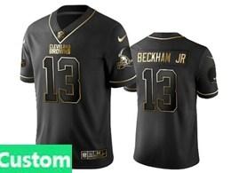 Mens Nfl Cleveland Browns Custom Made Black Retro Golden Edition Vapor Untouchable Limited Jerseys