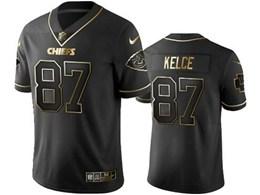 Mens Nfl Kansas City Chiefs #87 Travis Kelce Black Retro Golden Edition Vapor Untouchable Limited Jerseys