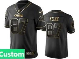 Mens Nfl Kansas City Chiefs Custom Made Black Retro Golden Edition Vapor Untouchable Limited Jerseys