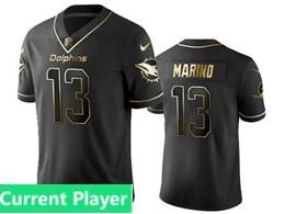 Mens Miami Dolphins Current Player Black Retro Golden Edition Vapor Untouchable Limited Jerseys