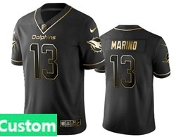 Mens Miami Dolphins Custom Made Black Retro Golden Edition Vapor Untouchable Limited Jerseys