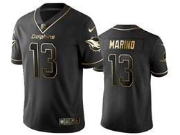 Mens Miami Dolphins #13 Dan Marino Black Retro Golden Edition Vapor Untouchable Limited Jerseys