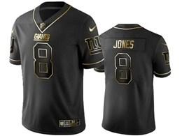 Mens Nfl New York Giants #8 Daniel Jones Black Retro Golden Edition Vapor Untouchable Limited Jerseys