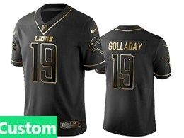 Mens Nfl Detroit Lions Custom Made Black Retro Golden Edition Vapor Untouchable Limited Jerseys